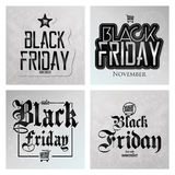 Set Different Black Friday Stickers Isolated Stock Photos