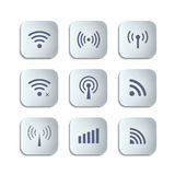Set of different black vector wireless and wifi buttons Stock Images