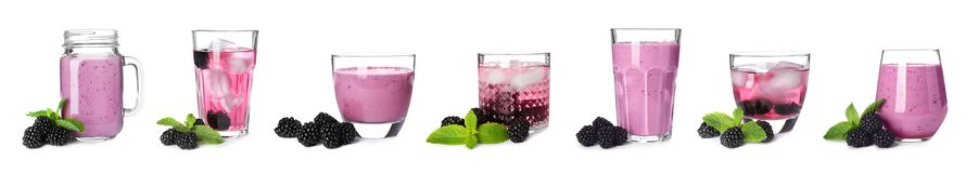 Set with different blackberry drinks Royalty Free Stock Photography