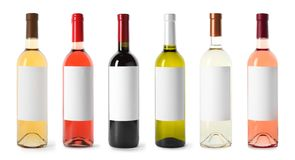 Set with different blank wine bottles on white background. royalty free stock photos