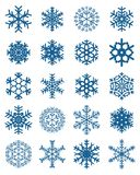 Set of different blue snowflakes. On a white background stock illustration