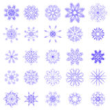 Set of Different Blue Snowflakes Royalty Free Stock Photo