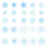 Set of Different Blue Snowflakes Royalty Free Stock Photos
