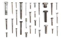 Set of different bolts nails and screws isolated on white background Stock Image
