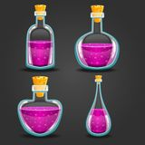 Set of different bottles with elixir. Game design illustration Royalty Free Stock Images