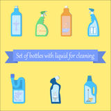 Set of different bottles. With liquids for cleaning the bathroom vector illustration