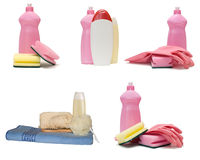 Set of different bottles from a plastic Royalty Free Stock Photography