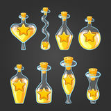 Set with different bottles of star potion. Magic elixir. Game design illustration Royalty Free Stock Photos
