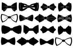 Set of different bow ties. Isolated on white Stock Photography