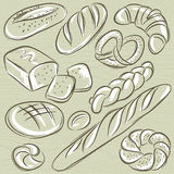 Set of different breads, vector Stock Image