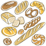 Set of different breads, vector Royalty Free Stock Image
