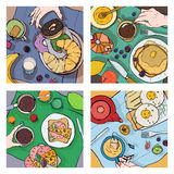 Set of different breakfast, top view. Square illustrations with luncheon. Healthy, fresh brunch coffee, tea, pancakes. Sandwiches, eggs, croissants and fruits stock illustration