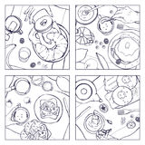 Set of different breakfast, top view. Square illustrations with luncheon. Healthy, fresh brunch drink, pancakes Stock Photos