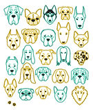 Set of 24 different breeds dogs neon handmade. Head dog Royalty Free Stock Photo
