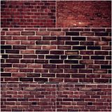 Set of different brick wall. Collage of grungy photos of old brick walls Stock Photography