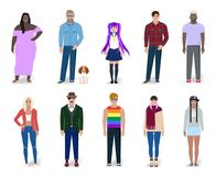 Set of different colorful people vector illustration. Set of different bright people, detailed drawing, vector illustration Royalty Free Stock Image