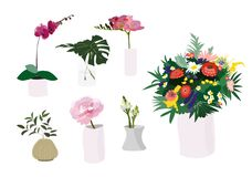 Flowers bouquet in vase collection. interior design decor. florist element. Set of different bright vases and jugs with bouquets and floral wreath.Cute plants Vector Illustration