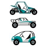 Set of different buggy cars on vector illustration. Set of different buggy car types, lightweight automobile with off road capabilities on vector illustration Royalty Free Stock Image