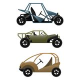 Set of different buggy cars on vector illustration. Set of different buggy car types, lightweight automobile with off road capabilities on vector illustration Stock Photos