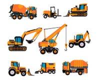 Set of different building equipment on white background. Concrete mixer, wheel loaders, excavator, bulldozer, front loader,. Backhoe loader stock illustration