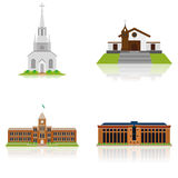 Set Of Different Building Illustrations Isolated Stock Photos