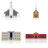 Set Of Different Building Illustrations Isolated Stock Images