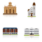 Set Of Different Building Illustrations Isolated Royalty Free Stock Photos