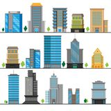 A set of different building objects. Multi-storey buildings in different designs. Vector illustration. stock illustration