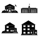 Set Of Different Building Silhouettes Isolated Stock Photo
