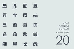 Set of different buildings and houses icons Royalty Free Stock Photo