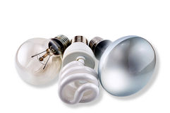 Set of different bulbs: glow, CFL and matt Royalty Free Stock Photo