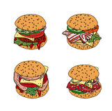 Set with different burgers. Objects isolated on white. Royalty Free Stock Photos