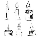 Set of Different Burning Retro Candles Royalty Free Stock Photo