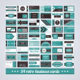 Set of 54 different business cards in retro style. Royalty Free Stock Photography