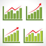 Set of different business graph with rising arrow. Vector Stock Photo