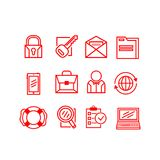 Set of business icons on a white background. Vector illustration. Set of different business icons of red color on a white background. Vector illustration Royalty Free Stock Image