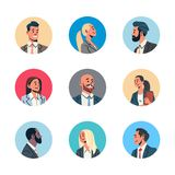 Set different business people avatar man woman face profile icon concept online support service female male cartoon royalty free illustration