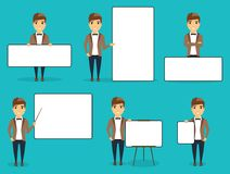 Set of different business people showing a blank banner. A set of different business people showing a blank banner. Advertising posters. Happy guy Royalty Free Stock Photo