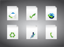 Set of different business signs on folders. Illustration design Stock Photography