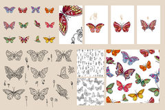 Set with different butterflies. Royalty Free Stock Photography
