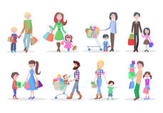 Set of Different Buying People on White Background Stock Photography