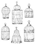 Set of different cages, hand-drawn Stock Image