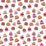Set with different cakes. Set with different birthday cakes stock illustration