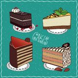 Set of different cakes in handmade cartoon style Royalty Free Stock Image