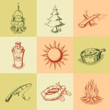 Set of different camping icons Stock Images