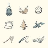 Set of different camping icons Stock Photos