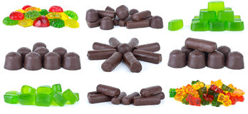 Set of different candies. Isolated on the white background Royalty Free Stock Images