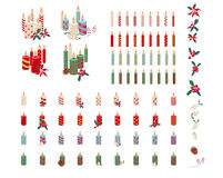 Set of different candles with Christmas decoration Royalty Free Stock Photography