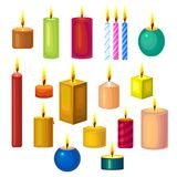 Set of Different Candles. Set of Different Glowing Candles. Colorful Collection of Cartoon Style. Vector Illustration Royalty Free Stock Photography