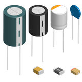 Set of different capacitors in 3D, vector illustration. Set of capacitors of different shapes isolated on white background. Elements design of electronic Stock Images